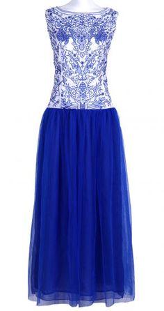 Blue Sleeveless Embroidery Mesh Yoke Lace Dress