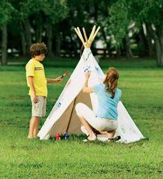 HearthSong Children's Cotton Canvas Teepee with Wooden Poles Play Teepee Play Teepee, Teepee Kids, Play Tents, Teepees, Canvas Teepee, Pop Up Play, Childrens Teepee, Playhouse Outdoor, Cardboard Playhouse