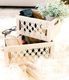 "@sistersonadime on Instagram: ""Cute storage baskets from @homegoods $7.99-$9.99 #homegoodsfinds #homegoods #homedecor #homedecorating #decorideas #decorinspiration…"" Macrame Wall Hanging Patterns, Macrame Patterns, Crochet Home Decor, Macrame Bag, Macrame Design, Macrame Projects, Diy Bow, Storage Baskets, Crafts"
