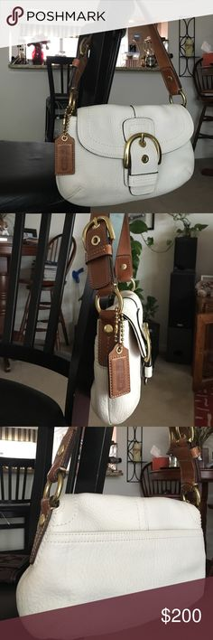 Authentic Soft White Leather Coach bag Like-new condition--never been used!  Soft, white leather handbag with brown leather strap and gold accents Coach Bags Shoulder Bags