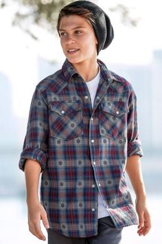 modern boys style, flannel & slouch beanie, teen fashion