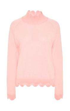 Pink Wool Silk Cashmere Turtleneck Knit With Scalloped Hem  by SIMONE ROCHA Now Available on Moda Operandi