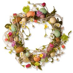 Decorate+your+door+or+bare+wall+with+this+beautiful+18-inch+easter+wreath+with+eggs+flowers+and+twigs.+This+elegant+piece+is+colored+with+vibrant+hues+and+will+make+a+great+addition+to+any+space.