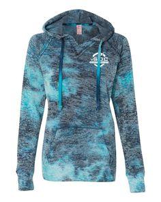 Weatherproof Ladies' Courtney Burnout V-Notch Hooded Fleece W1162 Bahama Blue [vSOC EMP]