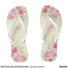 ) Flip Flops created by digiscrapthat. Bridesmaid Flip Flops, Floral Bridesmaids, Bridesmaid Gifts, Floral Flip Flops, Womens Flip Flops, Monogram Gifts, Spa Day, Maid Of Honor, Gifts For Dad
