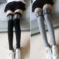 23d94368e Women Thigh High Over Knee Knitted Cashmere Leg Warmer Boot Socks Leggings   gt  gt