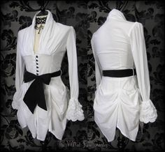 Victorian Goth White Hitched High Collar Bustle Shirt Top 8 Steampunk Romantic   THE WILTED ROSE GARDEN