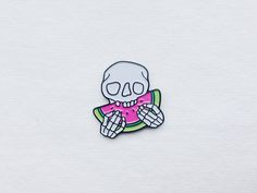 Image of 'Skull & Watermelon' enamel pin