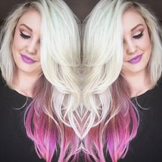 @jillferg created this beautiful look on @kthrnsarahd. To get these colors for yourself, start by bleaching the whole head to a level 10. Mix #CottonCandyPink with a touch of #UltraViolet and apply to the bottom layers. Coat the top layers with our #VirginSnow toner for the #platinum shade.