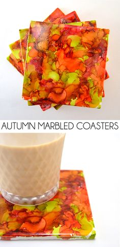 It's so easy and lots of fun to make these custom marbled coasters. Grab a straw and get ready to blow!