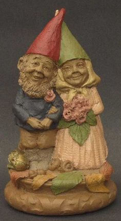"""I have an extensive collection of Tom Clark Gnomes.  In 1978 Dr. Clark sculpted a small gnome for his own amusement, inspired by the cover art on the popular book """"Gnomes, illustrated by the late Rien Poortvliet. Using his keen imagination, he began sculpting other small forest-dwellers, and celebrated their life of harmony with the natural world by naming them """"Woodspirits"""".  These are from the Cairn Studio."""
