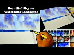 Loose Watercolor Landscape tutorial : How to Paint watercolor Sky with beautiful Sky Watercolor Landscape Tutorial, Watercolor Sky, Watercolor Paintings, Beautiful Sky, Art Tutorials, Youtube, Craft Projects, Crafts, Tips