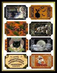 Altered Art Vintage Halloween Tickets - Download | SenecaPondCrafts - Seasonal on ArtFire