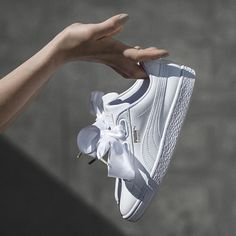 The new Basket Heart is all dolled up and tied with a bow. Double tap if you're crushing. All yours on December Vans Sneakers, Pumas Shoes, Shoes Sandals, Heels, Converse, Puma Basket Heart, Nike Huarache, Casual Shoes, Heeled Boots