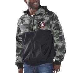 College Florida State Seminoles G-III Sports by Carl Banks Crossover Hooded Full-Zip Jacket - Black/Camo