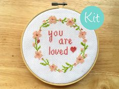 """Love Cross Stitch Kit Quote Baby Gift """"You Are Loved"""" Saying Floral Wreath Pattern Flowers Counted Cross Stitch Pattern Design Heart by LeiaPatterns"""