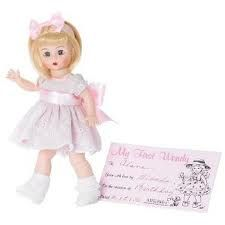 $51.96 My First Wendy. My First Wendy is a perfect way to start a collection! This little cutie is wearing a pink full skirted dress with white embroidery forming a scalloped edge at the bottom of the skirt. Around her waist is a pink satin sash tied in an over sized bow in back and another in her pale blonde bobbed hair. She also comes with a card to record this special occasion. Retired, limited supply.
