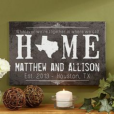 Awww I love this canvas print! What a beautiful wedding gift idea! You can personalize it with any state in the middle and all the couple's info ... love it! #Wedding