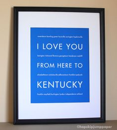 kentucky+art+prints | Kentucky Art Print, I Love You From Here To KENTUCKY, 8x10, Choose ...