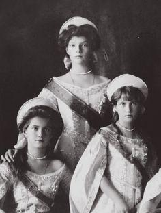 Grand Duchesses Tatiana, Maria and Anastasia.