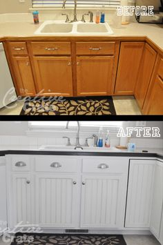 kitchen makeover - added paint, bead board to cabinets, new handles, and crown molding to upper cabinets.