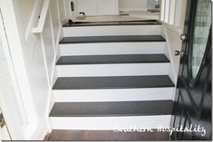 gray stairs with white risers - Google Search Redo Stairs, Tile Stairs, Concrete Stairs, House Stairs, Basement Stairs, Pine Stair Treads, White Stair Risers, Stairs Treads And Risers, Foyer Paint