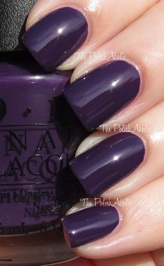 Vant To Bite My Neck? is a dark eggplant purple creme.The PolishAholic: OPI Spring 2013 Euro Centrale Collection Swatches Opi Nail Polish, Opi Nails, Nail Polishes, Great Nails, Cute Nails, Opi Nail Colors, Nail Polish Collection, Fancy Nails, Purple Nails