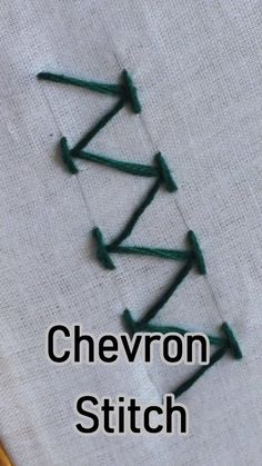 Chevron Stitch - Embroidery For Beginners Chevron Stitch 2019 - - Wedding Decorations 2019 - World Trends Chevron stitch is a useful stitch for making decorative borders. This is a surface embroidery stitch. Learn how to work a chevron stitch in Foolproof Hand Embroidery Videos, Embroidery Stitches Tutorial, Simple Embroidery, Sewing Stitches, Crewel Embroidery, Hand Embroidery Patterns, Embroidery Techniques, Ribbon Embroidery, Cross Stitch Embroidery