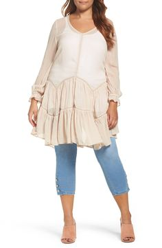 New Glamorous Scoop Back Ruffle Top (Plus Size) BONE fashion online. [$89] new offer from Thenewoffer<<