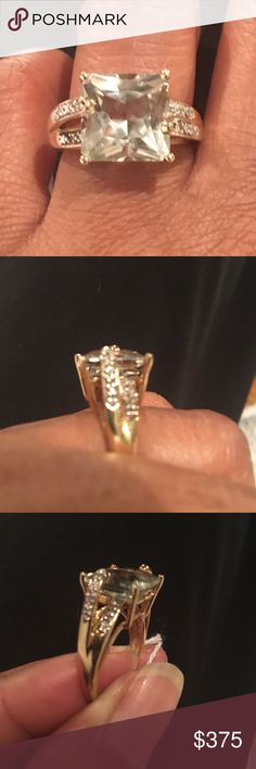 green beryl stone and Diamond 10kt ring green beryl stone 8ct  10kt Jewelry Rings