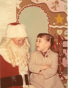 +~+~ Vintage Photograph ~+~+  Young girl letting Santa know just how good she's been and what she would like for Christmas