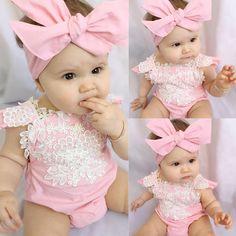 Newborn Baby Girl Rompers Bodysuit Lace Floral Jumpsuit Headband Outfits Sunsuit