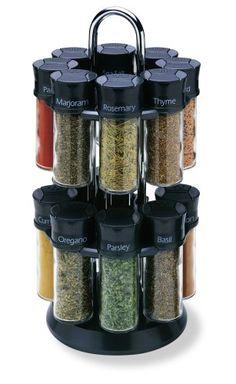 Olde Thompson 16-Jar Carousel Spice Rack - http://spicegrinder.biz/olde-thompson-16-jar-carousel-spice-rack/