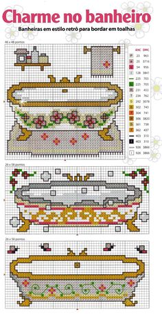 La pasion del punto de cruz: bañeras Plastic Canvas Crafts, Filet Crochet, Crochet Accessories, Cross Stitching, Needlepoint, Hand Embroidery, Cross Stitch Patterns, Needlework, Retro