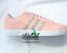 Last One!!  Swarovski Adidas Women's Size 7.5 Peach Neo Baseline Shoes Blinged with SWAROVSKI® Crystals
