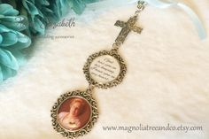 Bridal Charm, Wedding Bouquet Charm, Memorial Charm, Pendant, Custom Photo, Karen Elizabeth, Wedding Cross Charm, God has you (BC005) by MagnoliaTreeandCo on Etsy