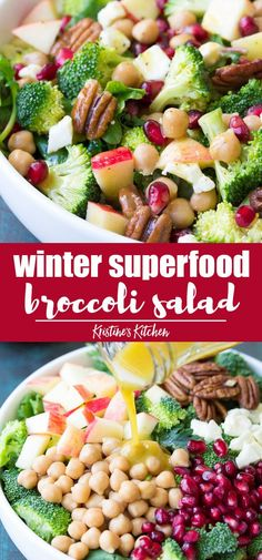 Healthy winter broccoli salad recipe with kale, apple and pomegranate. With a no… Healthy winter broccoli salad recipe with kale, apple and pomegranate. With a no mayo honey mustard dressing, this salad will be the hit of your holiday table! Salad Recipes No Meat, Winter Salad Recipes, Apple Salad Recipes, Meat Salad, Kale Recipes, Vegetarian Recipes, Dinner Recipes, Healthy Recipes, Kale Salad