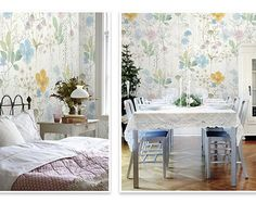 Watercolor Flowers Wallpaper Fresh Spring Flower & Leaves Wall Mural Art Bedroom Light Yellow Blue Green Nude Florals Blossoms Large Print