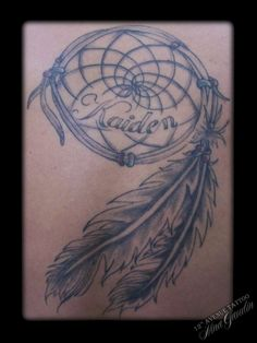 Dream Catcher Tattoo With Names Dreamcatcher With Feathers And Children's Names  Dolly's Skin Art