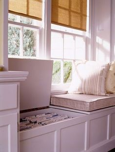 A window seat (or a vintage trunk) can stand in for a file cabinet when fitted with freestanding hanging-file-folder racks, available in various widths to suit any size storage space. To prevent straining and twisting your back while accessing files, install them in rows that face the center of the room.: