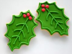 Holly Leaves Sugar Cookies.  Crisp, buttery, and individually hand decorated so no two are exactly alike.