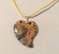 Necklace Heart Shaped Crazy Lace Agate Pendant by HappyLilac
