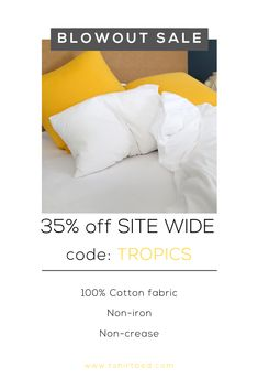 off SITE WIDE! Pure cotton fabric, ethically made, for your best nights sleep! Bedroom Inspiration, Good Night Sleep, 100 Pure, Duvet Cover Sets, Linen Bedding, Cotton Fabric, Linen Sheets, Quilt Cover Sets, Cotton Textile
