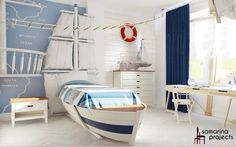 This nautical Nursery with it's boat inspired bed will definitely make kids dream big.