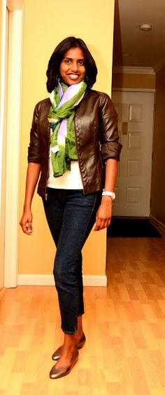brown blue white and green   leather jacket