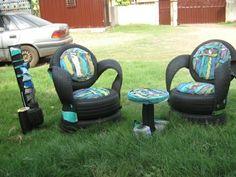 autoreifen recycling türkis DIY Möbel aus Autoreifen bemalt reste