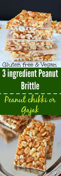 Nutty and crunchy peanut brittle also referred to as Peanut Chikki or gajak, is ideal as a snack and a must-have during winter months.