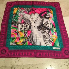 Gianni Versace Two Ladies Silk Scarf STEAL ME❗️ Authentic Gianni this design is from his collection prior to his death. Measures 34in By 34 In. Fuchsia Border adds even more of a pop. Colors are exquisite and can be worn in a myriad of ways. This is truly a collectors piece! Drape around your coat, neck or bag!! Absolutely no Offers on this! The discount is amazing. Sells for $400 Gianni Versace Accessories Scarves & Wraps