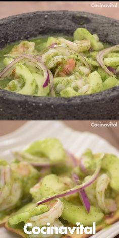 Shrimp Aguachile in Molcajete – Seafood Appetizers Shrimp Recipes For Dinner, Seafood Recipes, Healthy Dinner Recipes, Vegetarian Recipes, Cooking Recipes, Authentic Mexican Recipes, Mexican Food Recipes, Tasty Videos, Food Videos