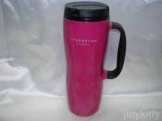 STARBUCKS-HOT-PINK-TRAVEL-TUMBLER-MUG-w-HANDLE-16oz-2006 Starbucks, Mug Designs, Travel Mug, Hot Pink, Water Bottle, Mugs, Tumblers, Tableware, Handle
